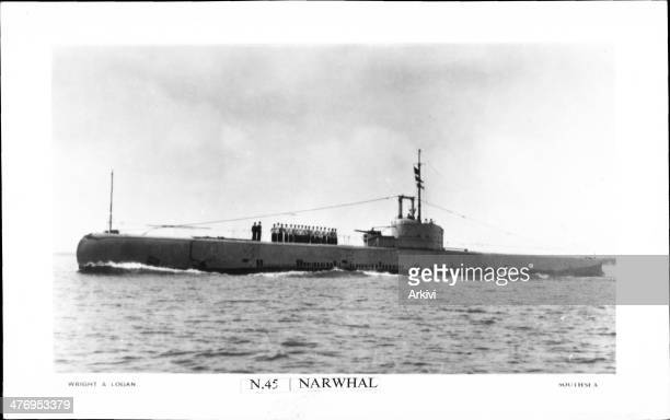 British Royal Navy Submarine HMS Narwhal N 45 at sea date not given