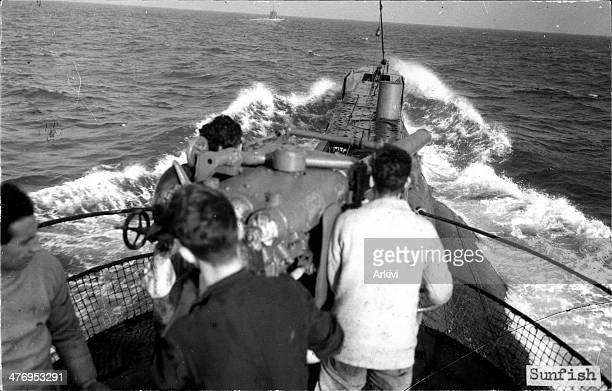 British Royal Navy Submarine HMS Sunfish at sea date not given