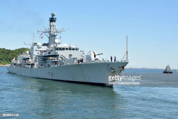 British Royal Navy Type 23 frigate HMS Sutherland viewed from the front on a sunny day in Yokosuka Japan April 26 2018 Image courtesy Petty Officer...