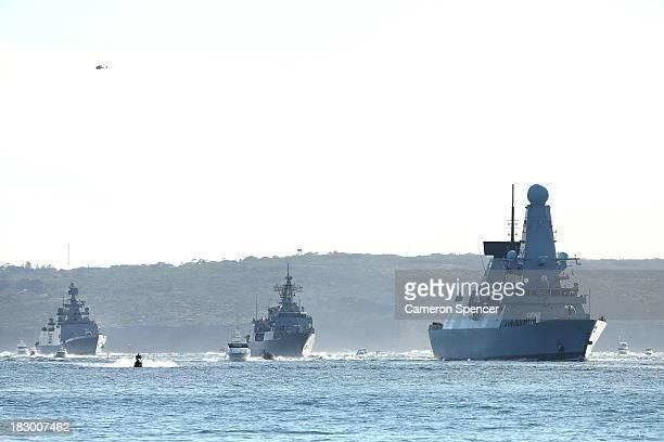British Royal Navy warship HMS Daring Royal New Zealand Navy warship HMNZS Te Mana and Indian Navy warship INS Sahyadri arrive in Sydney Harbour on...