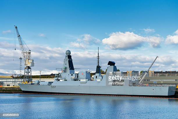british royal navy warship hms duncan on the river clyde - royal navy stock pictures, royalty-free photos & images