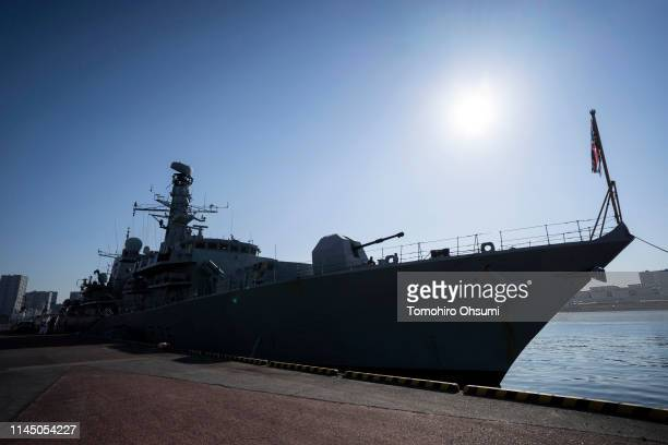British Royal Navy's HMS Montrose frigate sits moored at Harumi Pier before departing to a joint exercise with Japanese Maritime SelfDefense Force...