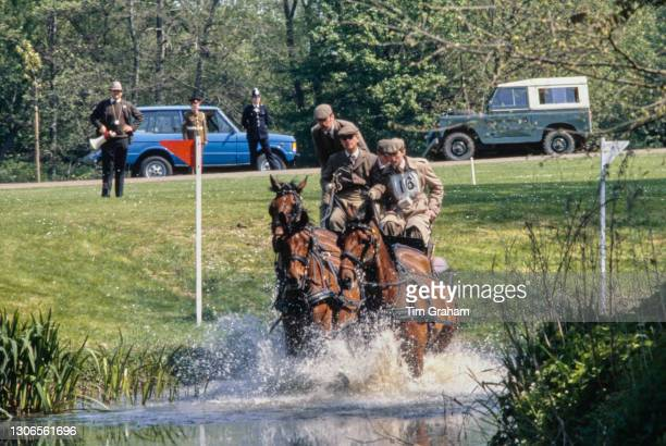 British Royal Prince Philip, Duke of Edinburgh competes in the World Carriage Driving Championships, at Windsor Great Park in Windsor, Berkshire,...