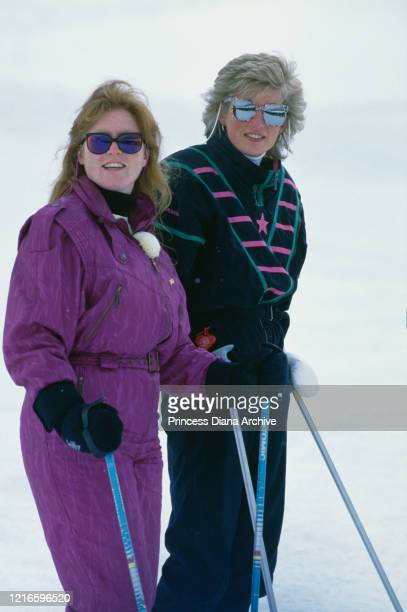 British royal Sarah, Duchess of York and Diana, Princess of Wales during a holiday at the ski resort of Klosters, Switzerland, 9th March 1988.