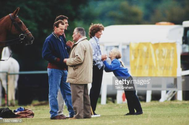 British Royal Zara Phillips with her nanny Sarah Minty and unspecified people attend a polo match held at Cirencester Park Polo Club in Cirencester,...