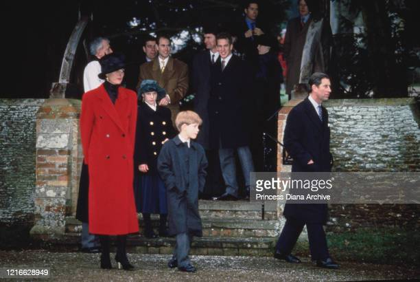 British royals Diana, Princess of Wales , wearing a red coat with a black hat, Zara Phillips, Prince Andrew, Duke of York, Prince Edward, Peter...