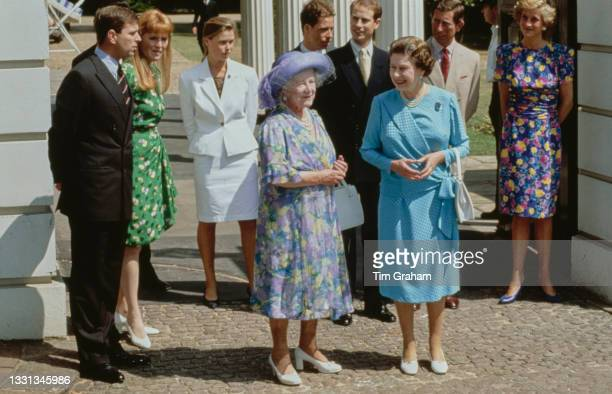 British Royals Prince Andrew, Duke of York, and his wife Sarah, Duchess of York, wearing a green floral pattern dress, Lady Sarah Armstrong-Jones,...