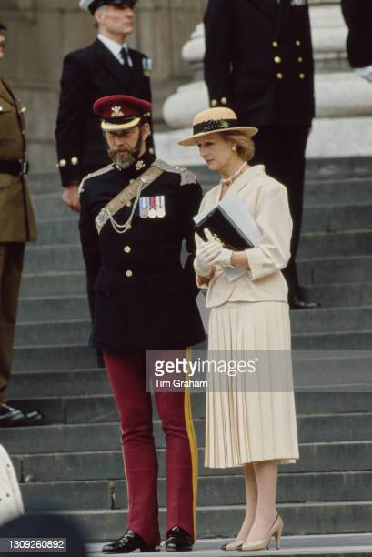 British Royals Prince Michael of Kent, dressed in ceremonial uniform, with his sister, Princess Alexandra, leaving the ceremony which saw the...