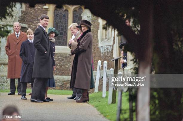 British Royals Prince Philip Duke of Edinburgh Prince William Timothy Laurence Zara Phillips and Diana Princess of Wales wearing a brown coat with...