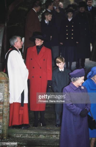 British royals Prince Philip, Duke of Edinburgh, Prince William, Zara Phillips Diana, Princess of Wales , Prince Harry and Queen Elizabeth II attend...