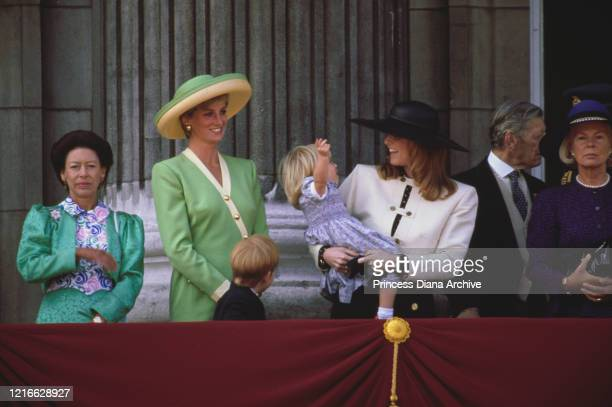 British royals Princess Margaret, Countess of Snowdon , Diana, Princess of Wales with Prince Harry, and Sarah, Duchess of York with Princess Beatrice...