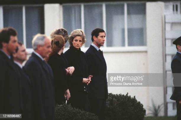 British royals Sarah Ferguson, Duchess of York, Diana, Princess of Wales and Prince Charles on their arrival at RAF Northolt in London, England. The...