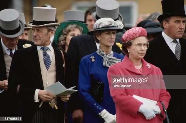 British Royals Sir Angus Ogilvy , Princess Alexandra, The Honourable Lady Ogilvy, Queen Elizabeth II, and Racing manager to Queen Elizabeth II Henry...