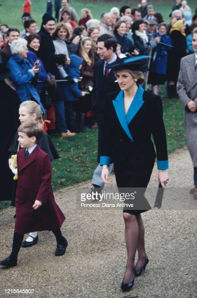 British royals Zara Phillips, Prince William, Prince Charles, Diana, Princess of Wales , and Prince Edward greeted by well-wishers as they attend the...