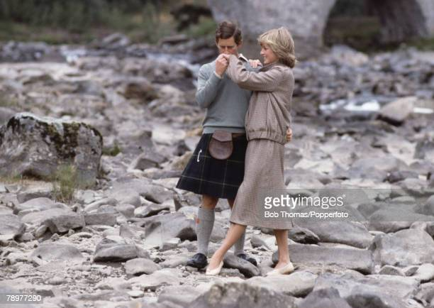 British Royalty, 19th August 1981, Prince Charles kisses the hand of Princess Diana at a photo-call during their honeymoon