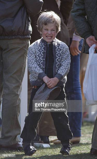 British Royalty Badminton Horse Trials England Master Peter Phillips son of Princess Anne and Captain Mark Phillips holds his hat in his habds while...