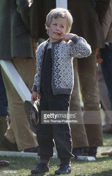British Royalty Badminton Horse Trials England Master Peter Phillips son of Princess Anne and Captain Mark Phillips puts one of his fingers into his...