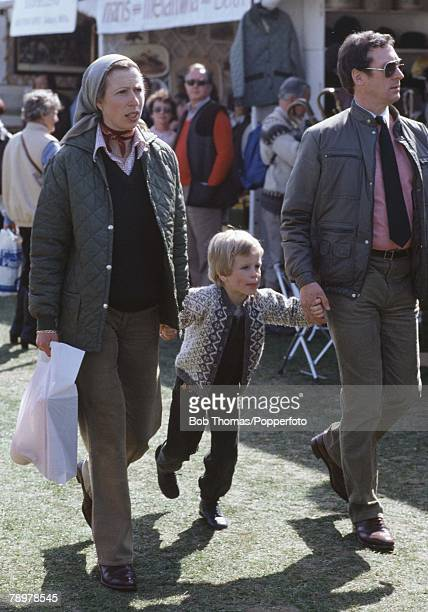 British Royalty, Badminton Horse Trials, England Princess Anne with her son, Master Peter Phillips and their dectective walk amongst the crowds