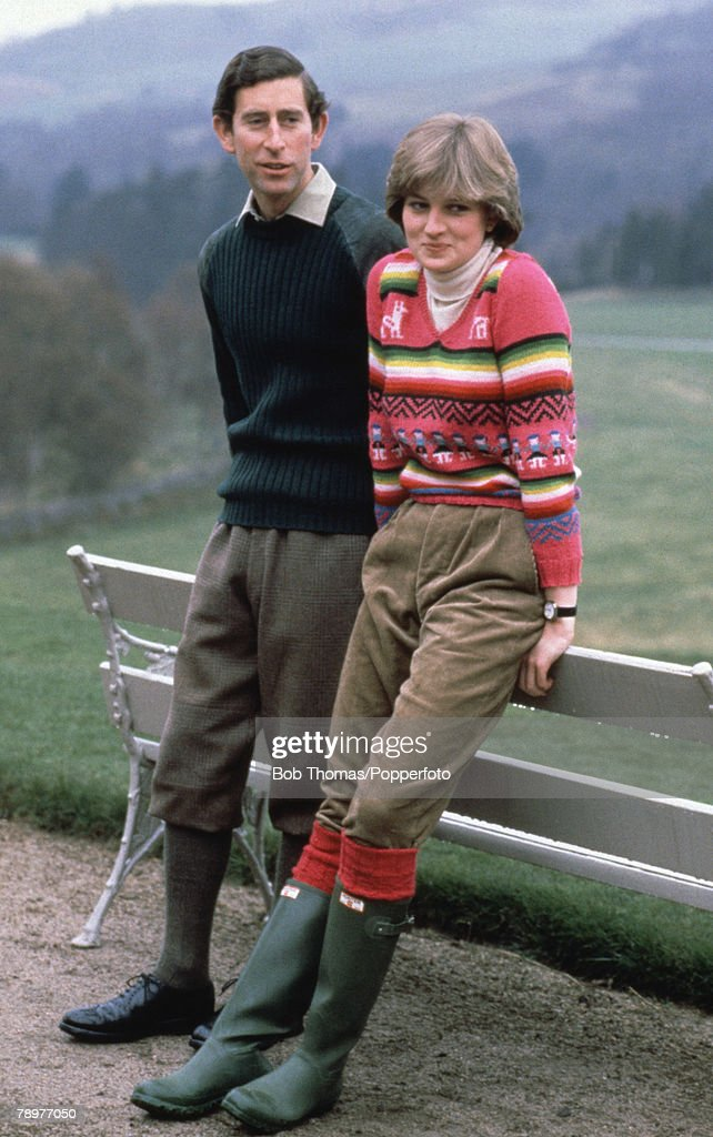 British Royalty. Balmoral, Scotland. 6th May 1981. Prince Charles and his fiancee Lady Diana Spencer seen here on the estate at Craigowen Lodge. : News Photo