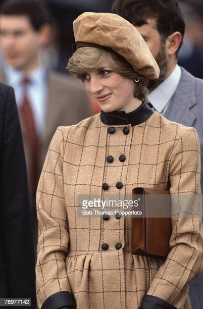 British Royalty Barmouth Wales November 1982 Princess Diana wearing a brown beret during the tour of the town