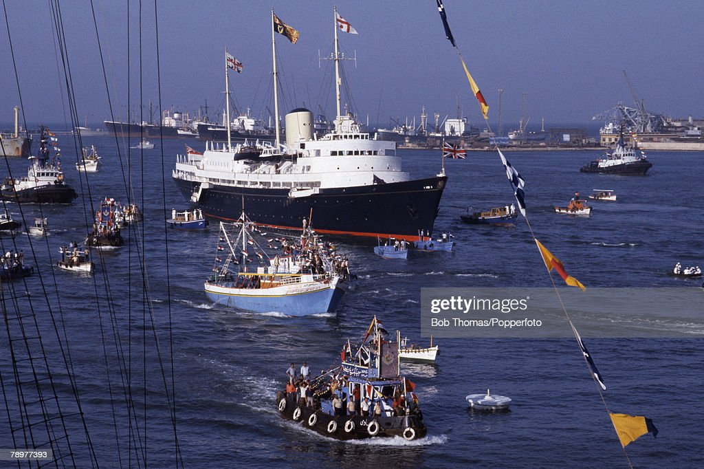 British Royalty. Cairo, Egypt. August 1981. Prince Charles and Princess Diana arrive in the Royal Yacht Brittania. They enter the port of Cairo as part of their honeymoon cruising the Mediterranean Sea. : News Photo