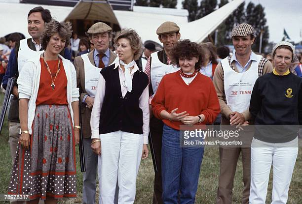 British Royalty Chester England Charity Clay Pigeon Shooting event August 1982 Left to right King and Queen Constantine of Greece Angus and Alexandra...