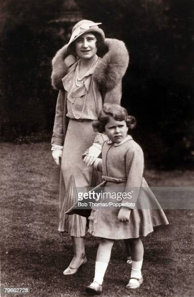 British Royalty circa 1931 HRHPrincess Elizabeth daughter of The Duke and Duchess of York pictured walking with her mother The Duchess of York