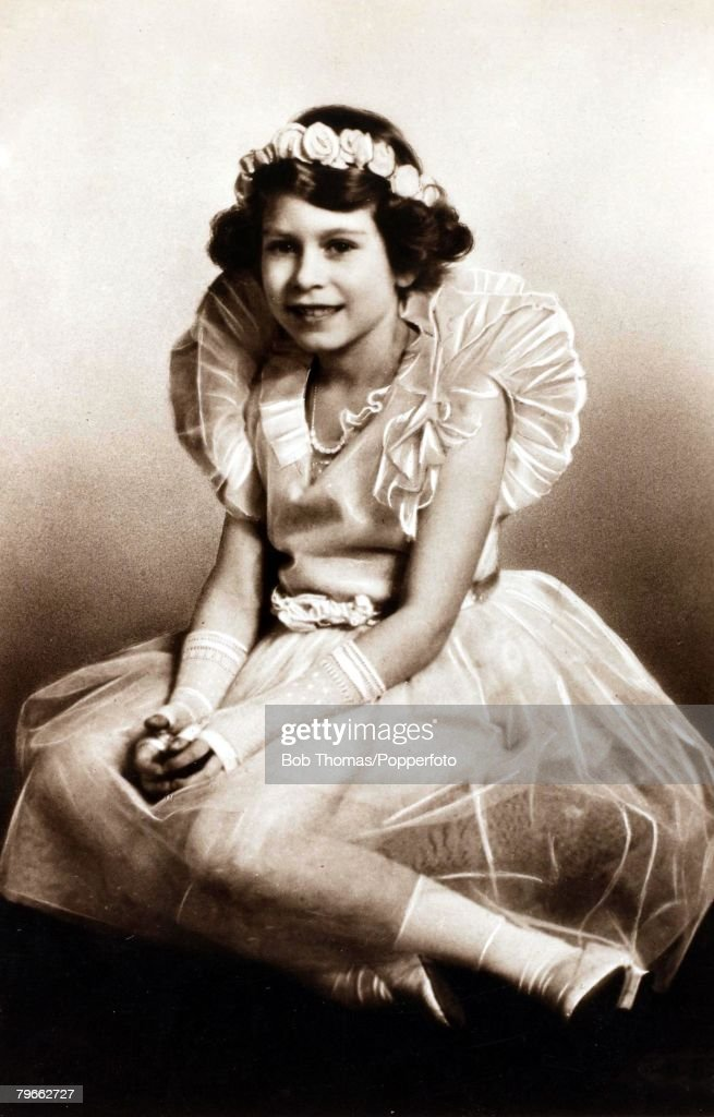British Royalty, circa 1932, H,R,H,Princess Elizabeth (Queen Elizabeth II), daughter of The Duke and Duchess of York pictured in ballet outfit : News Photo