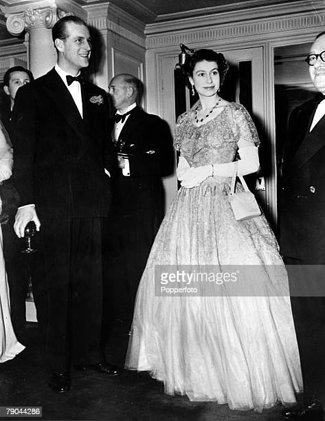 British Royalty circa 1950's HMQueen Elizabeth II and the Duke of Edinburgh at a special midnight show in aid of National Playing Fields