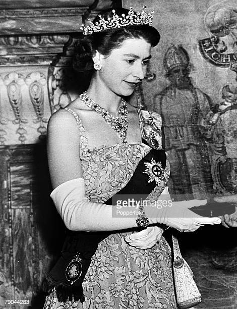 British Royalty circa 1950's HMQueen Elizabeth II wearing a fine array of jewels the bejewelled order of the garter a tiara and bracelet and a lovely...