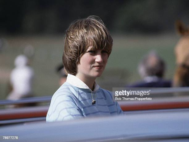 British Royalty Circa 1980 Lady Diana Spencer watching Polo
