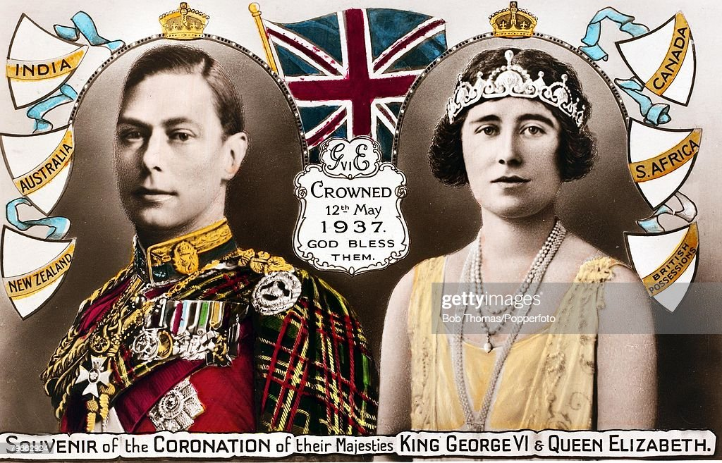 British Royalty, Coronation postcard souvenir, to the new King George VI of Great Britain and Queen Elizabeth, who were crowned 12th May 1937 : News Photo