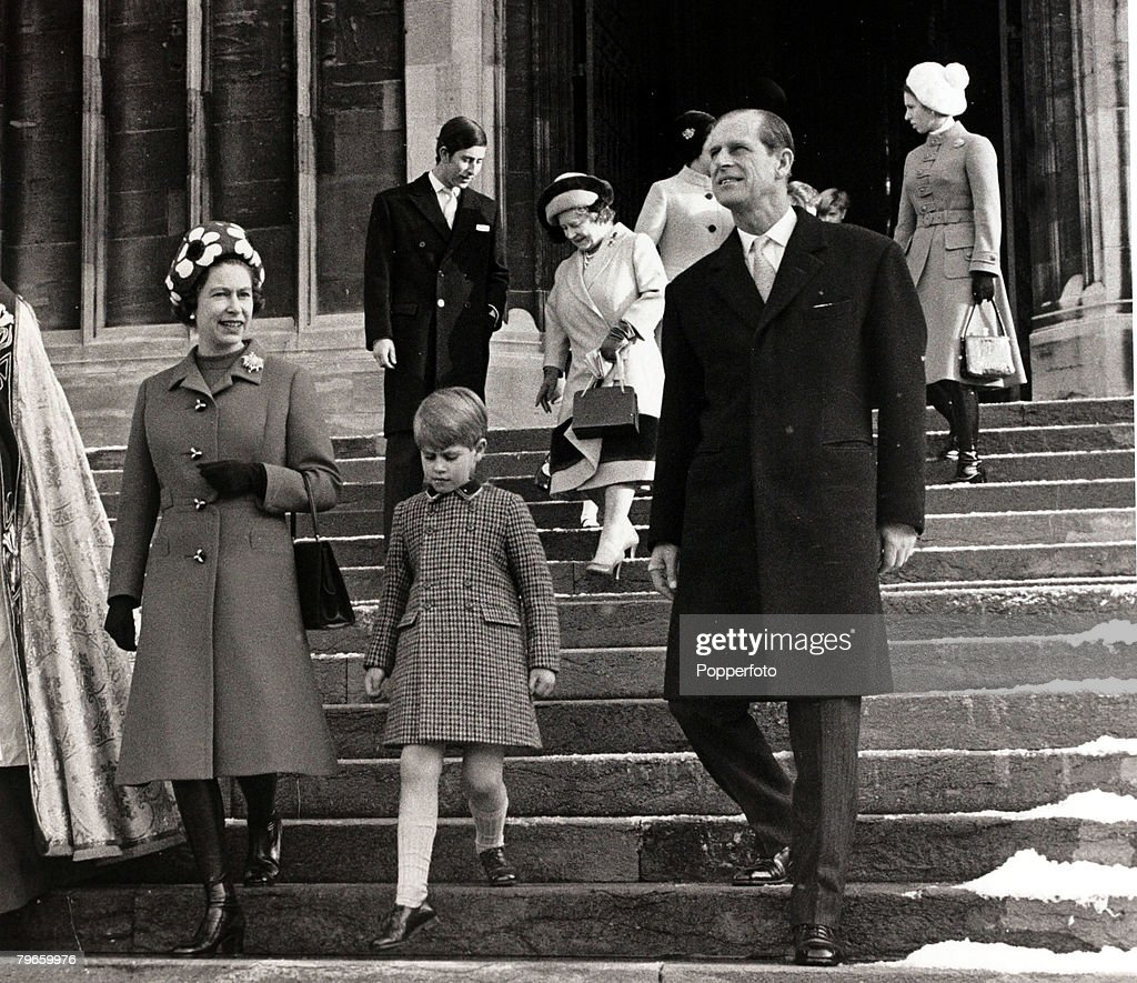 British Royalty, England, 25th December 1970, H,M, Queen Elizabeth II, H,R,H,Prince Edward, and H,R,H,The Duke of Edinburgh are followed by H,R,H,Prince Charles, H,M,Queen Elizabeth the Queen Mother and H,R,H,Princess Anne as they leave St,George's Chapel : News Photo