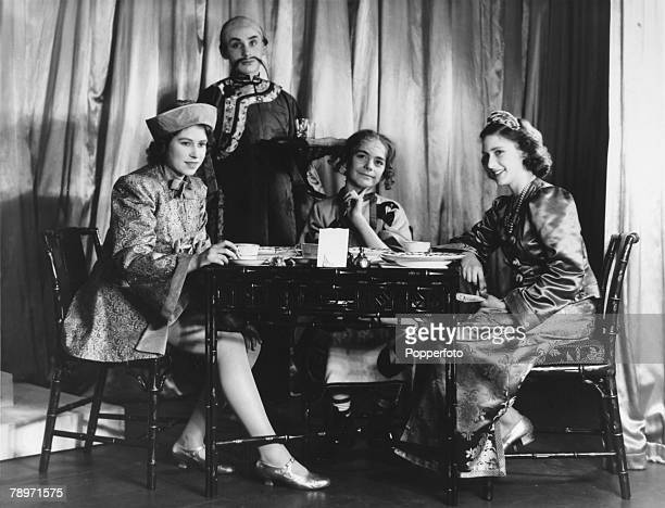 British Royalty England December 1943 Princess Elizabeth and Princess Margaret playing parts in the pantomine Aladdin at Windsor Castle