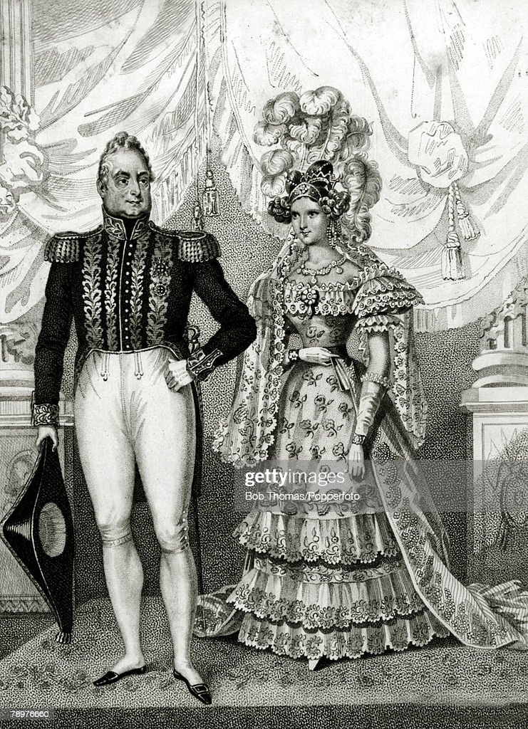 British Royalty. Engraving. pic: 1831. This 1831 image shows King William IV, (who reigned 1830-1837) and Queen Adelaide. : News Photo