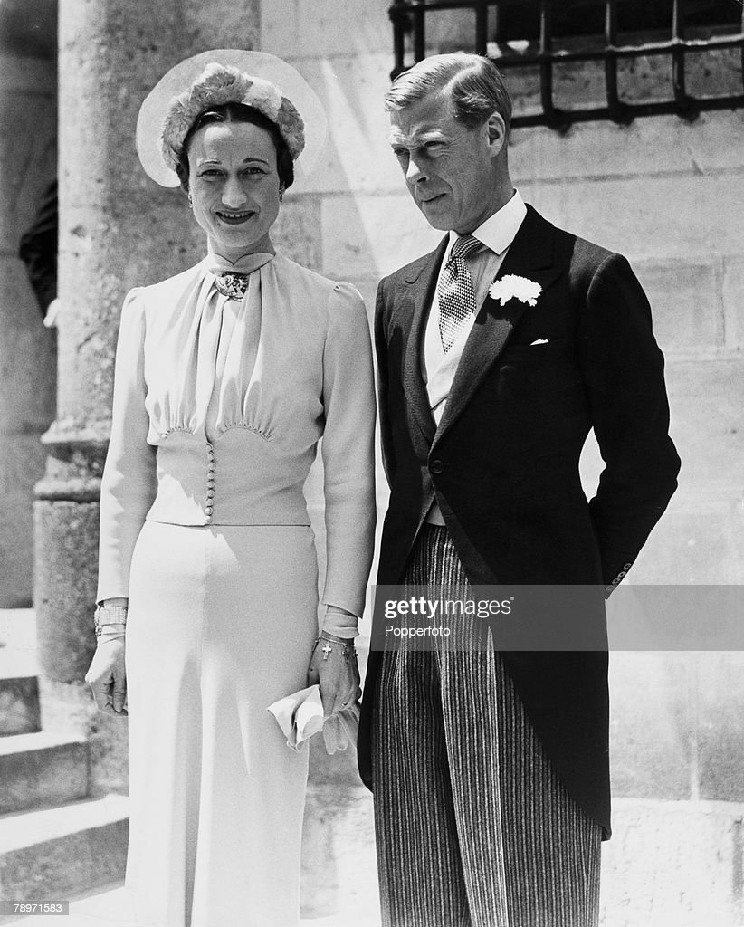 British Royalty. France. 3rd June 1937. The Duke and Duchess of Windsor pose after their wedding at the Chateau de Cande, France. The Duke and Duchess of Windsor pose after their wedding at the Chateau de Cande. : News Photo