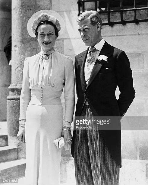 British Royalty France 3rd June 1937 The Duke and Duchess of Windsor pose after their wedding at the Chateau de Cande France The Duke and Duchess of...