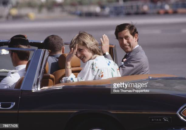 British Royalty Gibraltar 1st August 1981 Royal Honeymoon Prince Charles and Princess Diana wave as they drive away in an open top car