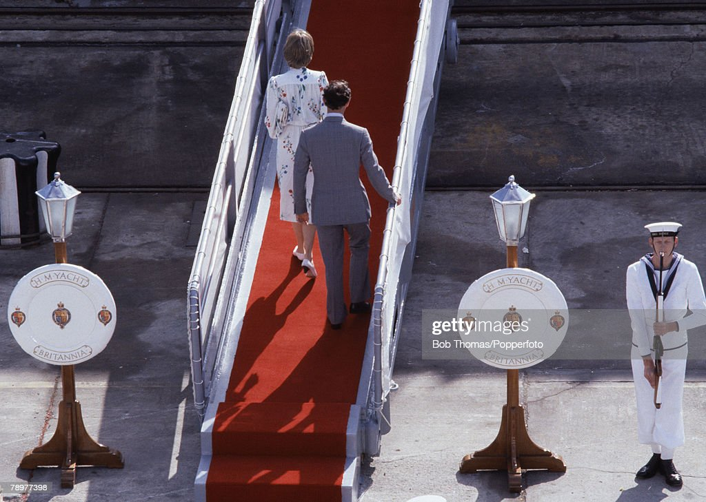 British Royalty. Gibraltar. 1st August 1983. Prince Charles and Princess Diana boarding the Royal Yacht Britannia at the start of their honeymoon. : News Photo