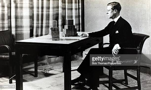 British Royalty HMKing Edward VIII of Great Britain is pictured broadcasting to the Empire before he decided to abdicate to marry Mrs Wallis Simpson...