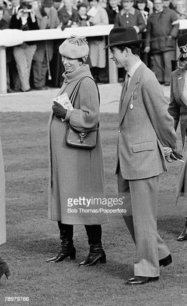 British Royalty Horse Racing Cheltenham Festival England 1981 Prince Charles and a pregnant Princess Anne attend the races on Gold Cup day