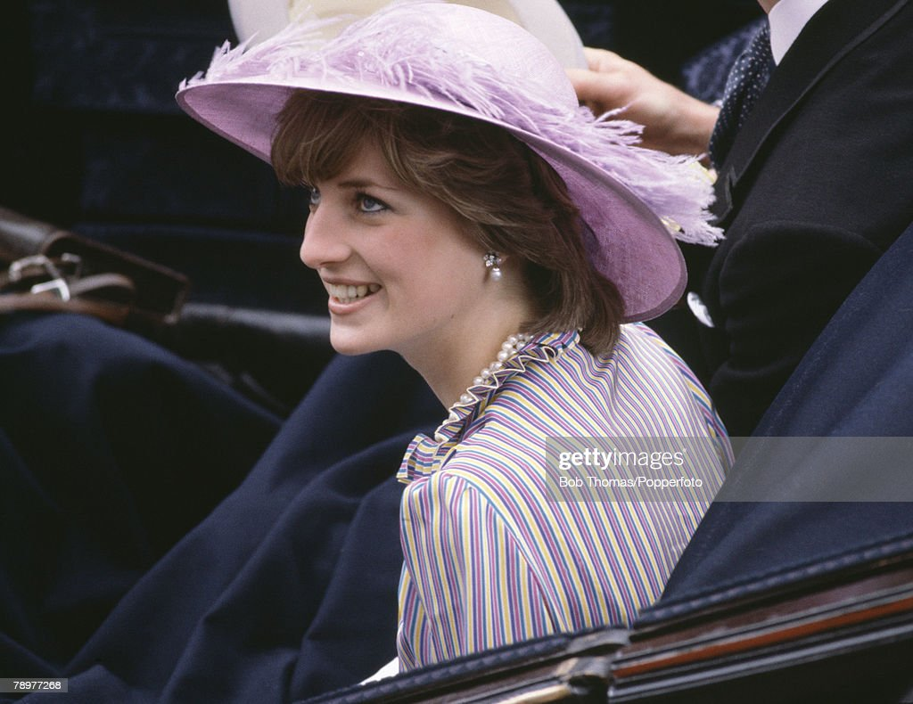 British Royalty. Horse Racing. Royal Ascot, England June 1981. Lady Diana Spencer wearing a purple hat. : News Photo