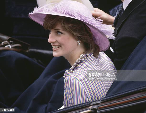 British Royalty Horse Racing Royal Ascot England June 1981 Lady Diana Spencer wearing a purple hat