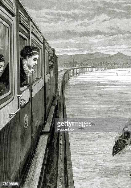 British Royalty Illustration from the Illustrated London News from 1879 pic 1879 HMQueen Victoria on the royal train as it crosses the Tay Bridge at...