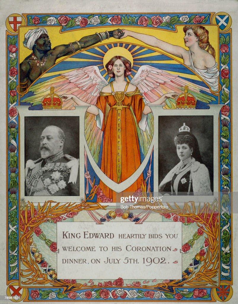 British Royalty. Illustration. Original menu cover from the Dinner held on July 5th 1902 : ニュース写真