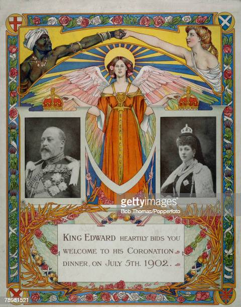 British Royalty Illustration Original menu cover from the Dinner held on July 5th 1902 to celebrate the Coronation of King Edward VII and Queen...
