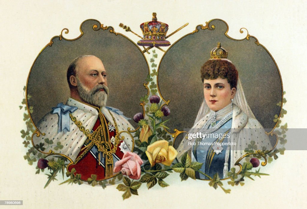British Royalty. Illustration. pic: 1902. This image shows King Edward VII and Queen Alexandra to celebrate the Coronation of the King on 26th June 1902. : News Photo