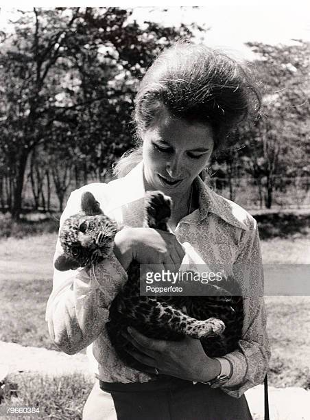 British Royalty Kenya Africa 9th February 1971 HRHPrincess Anne hugs a baby leopard at a game park near Nairobi