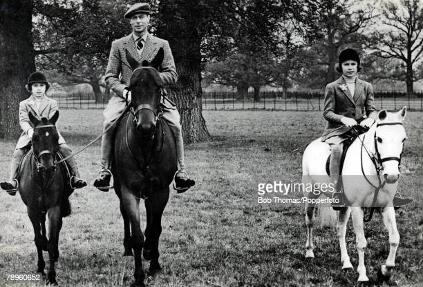 British Royalty King George VI pictured when he was HRH the Duke of York out riding with his daughter Pricess Elizabeth and Pricess Margaret 1938