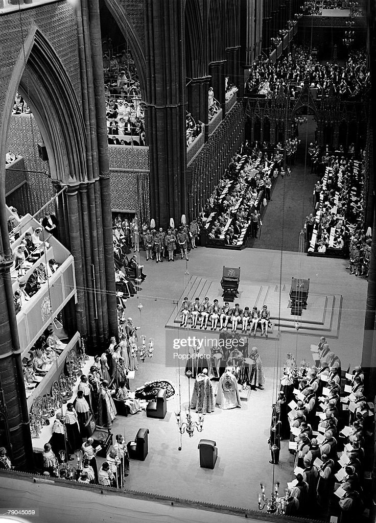 British Royalty. London, England. 12th May 1937. The Coronation of King George VI and Queen Elizabeth in Westminster Abbey. The scene shows the Coronation ceremony in the Abbey. : News Photo